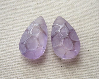 Pink Amethyst Carved Honeycomb Teardrop Beads 12 x 20 mm - Matched Gemstone Pair