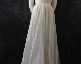 Vintage 1930's 1940's organdy white wedding dress gown