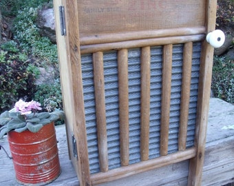 "WASHBOARD CABINET-REcycled from ""Super Zinc""washboard-to Wall Cabinet-Perfect MEDICINE CaBiNeT / Spice Cupboard-w/ a vintage porcelain knob"