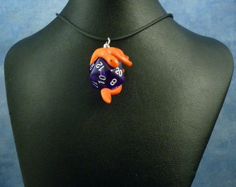 Crimson and Purple Dicekeeper Dragon Necklace - D20 Pendant