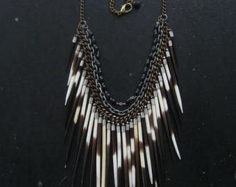 Porcupine Quill Bib Necklace with Vintage Rosary Beads  - Ceremony No. 10