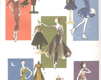 Vogue 7556 1950s Fashion Doll Clothes Pattern Skating Evening Dress Pants Skirt 11 1/2 Inch Barbie Historical 1955 Sewing Pattern UNCUT