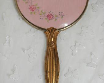Vintage Hand Held Mirror Floral Pink
