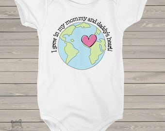 adoption personalized bodysuit- ANY COUNTRY - I Grew in my Mommy and Daddys Heart adoption bodysuit- announce an adoption MADT1-006