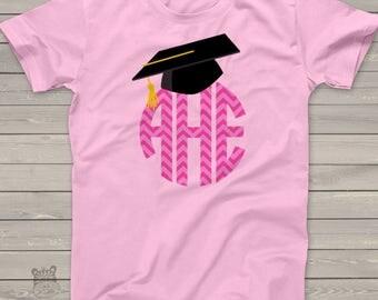 Graduation girl chevron monogram with grad cap Tshirt - adorable for last day of school  MSCL-008