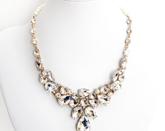 Necklace - Stunning Rhinestone Bib Necklace in Gold - Pearls - Vintage Style - Statement Bridal Necklace - Crystal Bib Necklace