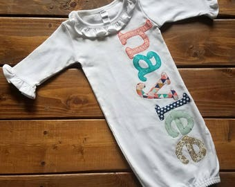 Personalized Newborn Gown Girl, Hospital Going Home Outfit, Baby Girl Gift, Gold Coral Mint, Baby Gift, Newborn Outfit, Personalized Gift