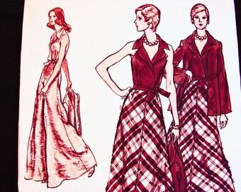 1970s Wrap Halter Top Palazzo Pants Skirt Jacket Pattern Vogue Pattern Wide Evening Pants Maxi Skirt Wrap Top Vintage Pattern Size 12