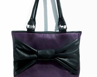 Deep Purple and Black Big Bow Genuine Leather Purse