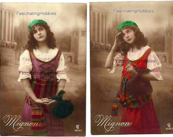 MIGNON's Musical OPERA -  set of 6 PHOTOS Postcards, complete - French written from his Fiancee, june to september 1914, Helvetia stamps -