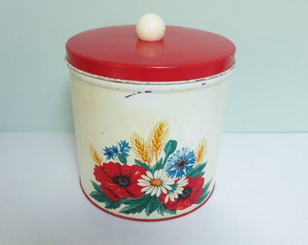 Vintage Kitchen Canister Lithographed with Flowers and Wheat in Yellow, Red, Blue White & Green