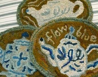 Flow Blue Teapots PDF pattern set for rug hooking