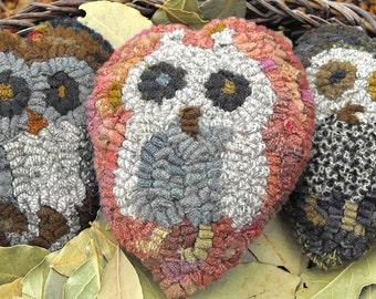 Owl Babies PDF Patterns for rug hooking and punchneedle embroidery