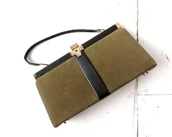 Vintage 1960s Olive Green Handbag