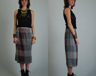 Plaid Skirt Vintage 70s Smart Plaid Slouchy Elastic Waist Pencil Skirt (m l)