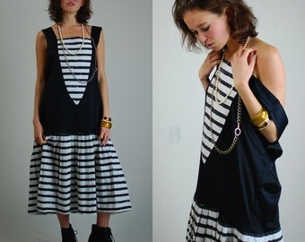 Striped Mod Dress Vintage 60s Black and White Stripes Slouchy Mod Drop Waist Dress (s m l)