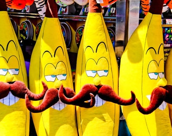 Yellow Bananas with Mustaches Carnival Fair Game Prize Fine Art Print- Carnival Art, County Fair, Home Decor, Funny, Goofy, Kids