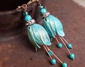 Turquoise Tulip patina earrings - Genuine blue turquoise gemstones