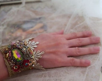 Enchanted lace bracelet cuff, Marie Antoinette, Boho wrist cuff bracelet, Swarovski bead embroidery textile jewelry, antique gold wedding