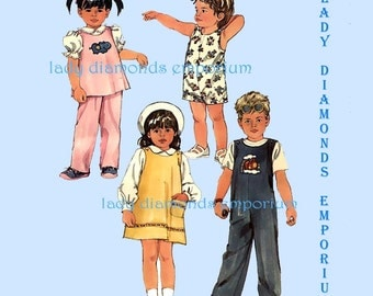 Simplicity 6730 Childs Pullover Dress Sundress Jumper Top Overalls Jumpsuit Romper Pants Boys & Girls size 3 Vintage 80's Sewing Pattern