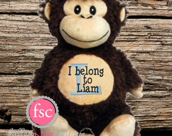 Monkey plush etsy personalized baby gift monkey stuffed animal i belong to stuffed animal monkey plush negle Image collections
