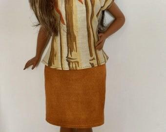 Handmade Curvy Barbie Clothes Top Pencil Skirt Designs by P D Reneau (Q718)
