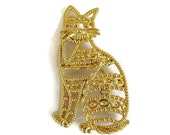 Large Open Work Kitty Cat Brooch Vintage Signed AJC