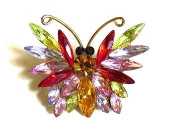 Multi-Color Rhinestone Butterfly Brooch Vintage