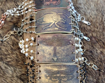 Insect Etched Rosary Chain Bracelet - Batch #2, Assorted