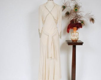 Vintage 1930s Wedding Dress - Lovely White Crepe Bias Cut 30s Bridal Gown with Matching Bugle Beaded Shawl