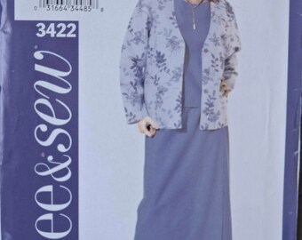Butterick See & Sew 3422 Easy Sewing Pattern Misses' and Petite Jacket Top and Skirt UNCUT Factory Folds Sizes 18-20-22 Bust 40-44""