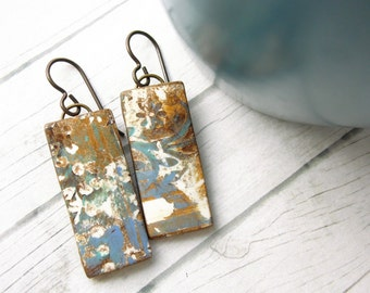 Polymer Clay Earrings Jewelry featuring an Abstract Rust and Paint Design in Brown, Denim Blue and White
