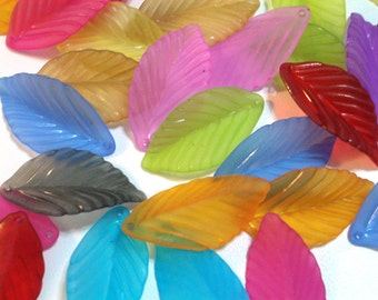 10 Pieces 35mm x 20mm Frost Rainbow Mix Aloe Leaves Lucite Leaf Beads Plastic Leaf Beads