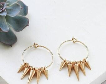Ramon Earrings, Punk Rock Earrings, Hoop Earrings, Spike Earrings, Spike Hoops, Spike Hoop Earrings, Spikes, Small Hoops, Small Hoop Earring