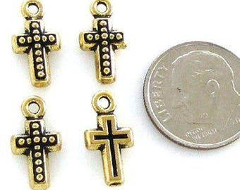 TierraCast Pewter Charms-Gold Small Beaded Cross (4)