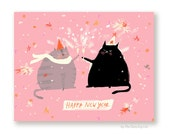 Happy New Year Card - New Years Cards - Happy New Year Cat Card - 2017