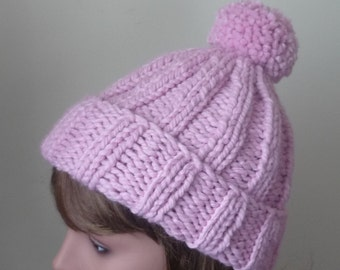 Chunky Knit Hat with Pompom and Rolled Brim Warm Wool Blend Winter Hat in Pink - Ready to Ship - Direct Checkout