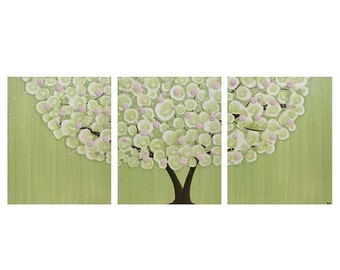 Pink Green Wall Art Painting for Children's Room - Large Canvas Tree Artwork Triptych with Textured Flowers - 50x20