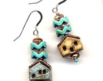 Clay House Earrings, Sterling Silver Earrings, Unique Rustic Blue Beige Miniature Terracotta House Earrings, 925 silver Cottage Earrings