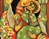 Virgin Mary Jesus child, Madonna child painting, religious painting, motherhood, Christian folk art, mother son, feminine decor, 8x12+