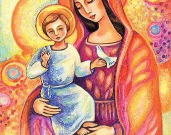 Madonna and child, Virgin Mary Jesus painting, mother child, christian folk art, motherhood, beauty painting, feminine decor print 8x12+