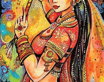 Indian dancer, Bollywood dance, dancing woman, Indian woman, magic of dance, feminine decor, beauty painting print 8x11+