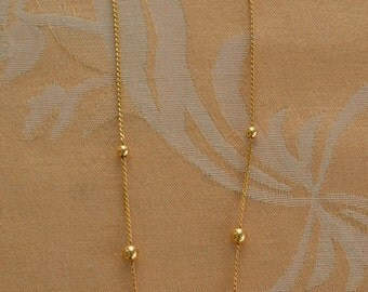 "Delicate Vintage Gold tone Beaded Chain Necklace, ""Trifari"", 16"" (AP9)"