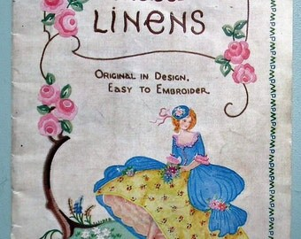 Vintage 30s Embroidery Store Catalogue Chelsea Traced Linens retro 1930s designs for household linen table cloths etc flowers Crinoline Lady