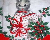Kitten with Package Novelty print Vintage 1950s Christmas Half Apron