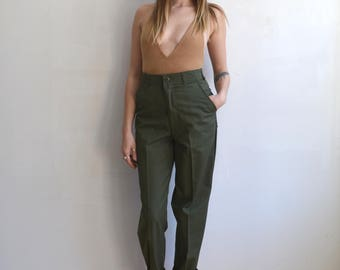 Vintage Army Utility Trousers/ US Military Type 1 Drab Green Pants/OG 507/ Size XS S 28/31