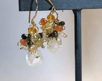 Ivory Cluster Earring Wire Wrap Multicolor Gemstones Pearl Chalcedony Sunstone Mandarin Garnet Pyrite Keishi Pearl 14ktt Gold Fill