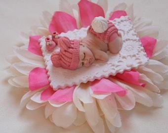 Baby Girl Pink Cake Topper, Baby Shower Favor Gift For Mom