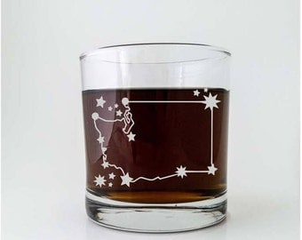 Washington State Constellation Stars | Etched Cocktail Old Fashioned Glass