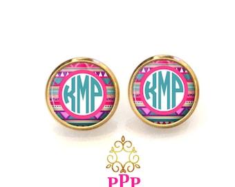 Tribal Monogram Earrings, Monogram Stud Earrings, Monogram Jewelry, Bridesmaid Jewelry, Personalized Jewelry (518)